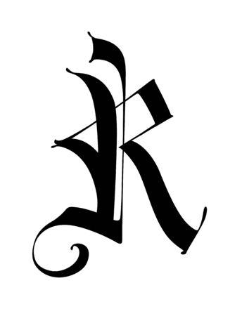 Lettera R, in stile gotico. Vettore. Alfabeto. Il simbolo è isolato su uno sfondo bianco. Calligrafia e lettere. Lettera latina medievale. Logo per l'azienda. Monogramma. Carattere elegante per il tatuaggio. Logo