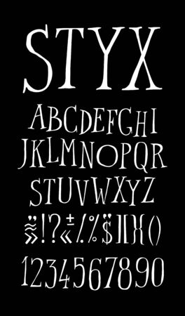 The ordinary alphabet in English. Vector. White chalk font on a black background. All letters are saved separately. Full character set. Ironic style.