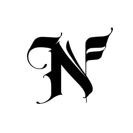 Lettera N, in stile gotico. Vettore. Alfabeto. Il simbolo è isolato su uno sfondo bianco. Calligrafia e lettere. Lettera latina medievale. Logo per l'azienda. Monogramma. Carattere elegante per il tatuaggio.