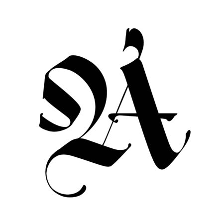 Letter A, in the Gothic style. Vector. Alphabet. The symbol is isolated on a white background. Calligraphy and lettering. Medieval Latin letter. Logo for the company. Monogram. Elegant font for tattoo.
