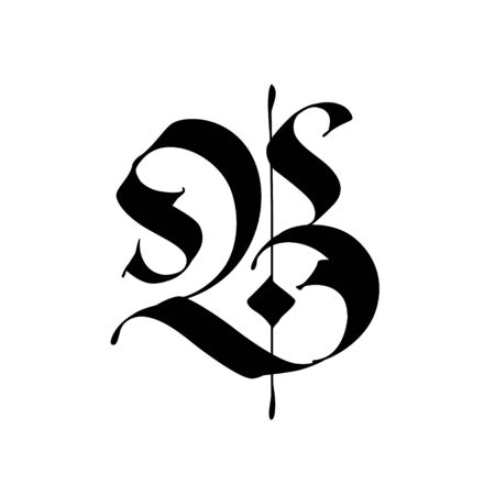 Letter B, in the Gothic style. Vector. Alphabet. The symbol is isolated on a white background. Calligraphy and lettering. Medieval Latin letter. Logo for the company. Monogram. Elegant font for tattoo. Vettoriali