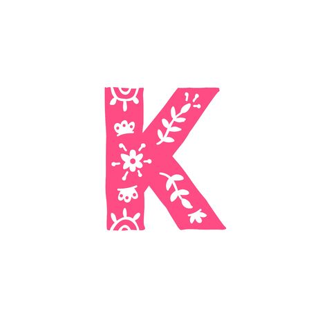 Letter K. Vector. Pink letter with ornament. Applique for clothes. Logo for the company.