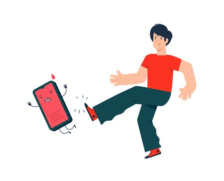 Illustration of a guy kicking a smartphone. Vector. The ban on the use of cell phones. Flat style. Say no to zombie mobile devices. Get free from the phone. Internet addiction.