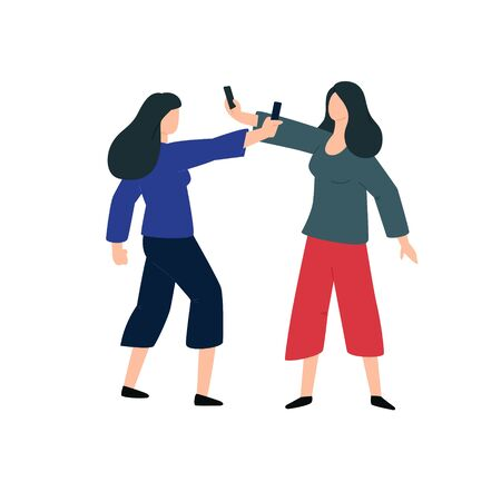 Two women shoot each other on the phone. Vector. Conflict between two ladies. Duel on smartphones. Collection of video evidence. Two videos are made by bloggers.