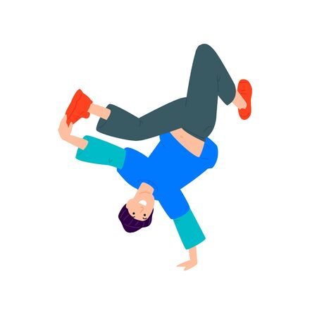 Illustration of a guy dancing upside down. Vector. A young dancer is standing on one arm. Flat style. Image isolated on a white background. Booty to the top.