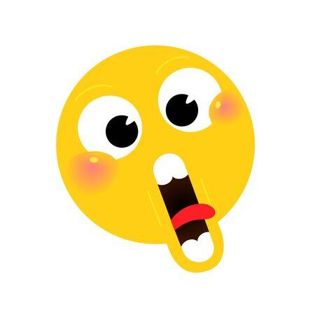Illustrazione, icona faccina selvatica. Vettore. Personaggio stupito. Personaggio ironico kawaii. Panino rotondo dalla faccia gialla.