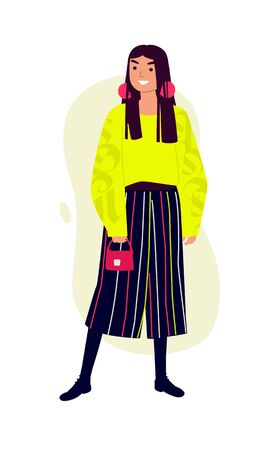 Illustration of a fashionable girl in a bright yellow sweater and striped trousers. Vector. Woman with a red handbag. Casual style of dress. Flat style. Image is isolated on a white background.