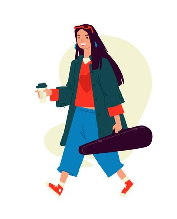 Illustration of a girl with cappuccino coffee. Vector. A woman runs to a rehearsal in the morning. Everyday musician. An invigorating morning coffee. A hired killer in a violin case carries a rifle. Flat style.