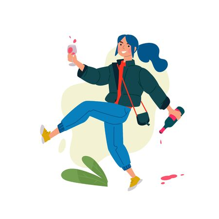 Illustration of a girl with a glass of wine and a bottle. Vector. A woman celebrates a holiday and runs to a meeting with her friends. Rest and party. Fun all night. A little bit drunk lady, without complexes. Vectores