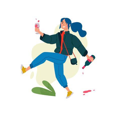 Ilustración de una niña con una copa de vino y una botella. Vector. Una mujer celebra una fiesta y corre a una reunión con sus amigos. Descanso y fiesta. Diversión toda la noche. Una señorita un poco borracha, sin complejos.