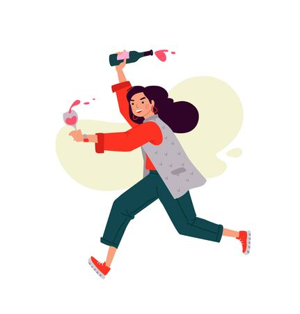 Illustration of a girl with a glass of wine and a bottle. Vector. A woman celebrates a holiday and runs to a meeting. Rest and party. Fun all night. A little bit drunk lady, without complexes. Flat style.
