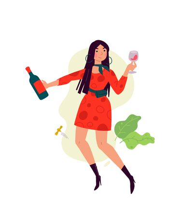 Illustration of a girl in a dress with a glass of wine. Vector. A woman celebrates a holiday, drinks wine and dances. Rest and party. Fun all night. A little bit drunk lady, without complexes. Flat style.