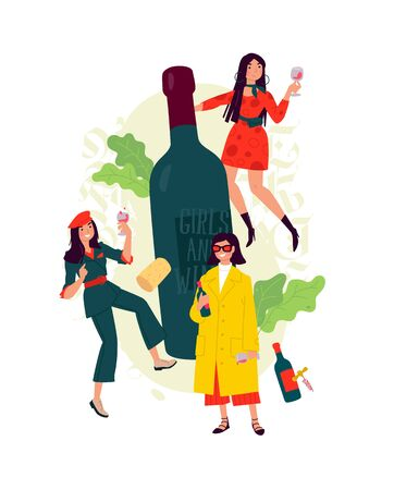 Illustration of girls with a glass of wine around the bottle. Vector. Women celebrate the holiday, have fun and relax. Party all night March 8th. Slightly drunken ladies, without complexes. Wine lovers.