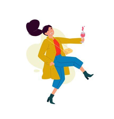 Ilustración de una niña con una copa de vino. Vector. Una mujer celebra una fiesta, bebe vino y baila. Descanso y fiesta. Diversión toda la noche. Una señorita un poco borracha, sin complejos. Estilo plano. Ilustración de vector
