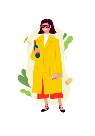 Illustrations of a girl with a glass of wine and a bottle in a yellow cloak. Vector. The woman celebrated the holiday. Having fun all night on the fly. The party was a success. A bit drunk lady. Flat style.