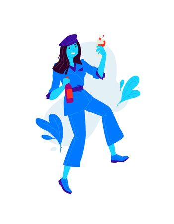Illustrations of a girl with a glass and a bottle of wine. Vector. A woman celebrates a holiday, drinks wine. Rest and party. Fun and parties. A slightly drunk lady. Flat style. Image in blue.