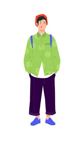 Illustration of a young man in a bright green shirt. Vector. Stylish hipster in dark pants. Fashionable guy in a red cap with a backpack and in blue beauties. Generation Z, millennial. A handsome boy.
