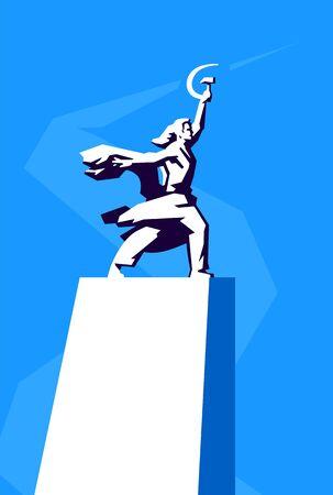 Illustration du monument Ouvrier et fermière collective. Vecteur. Monument, symbole des réalisations du peuple soviétique. Faucille et marteau dans les mains. L'un des symboles de Moscou. Centre d'exposition panrusse de Moscou. Vecteurs