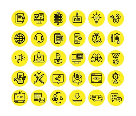 Icons on the subject of computer technology, communication and marketing. Vector. Set of icons for website design and landing. Signs and emblems of corporate identity. Design Material, Pixel Perfect. Contour style. Information Technology. Vettoriali