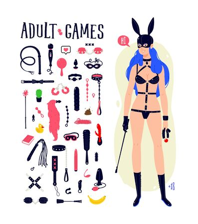 Illustration of a cartoon sexy BDSM girl in a latex rabbit mask. Vector. Madame with blue hair, with a whip and a gag. Icons of sex toys. Character for an intimate goods store. Flat style. 矢量图像