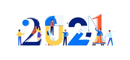 Office staff are preparing to meet the new year 2021. Vector illustration. Cartoon characters repair the numbers. Image is isolated on white background. Flat illustration for banner and site.