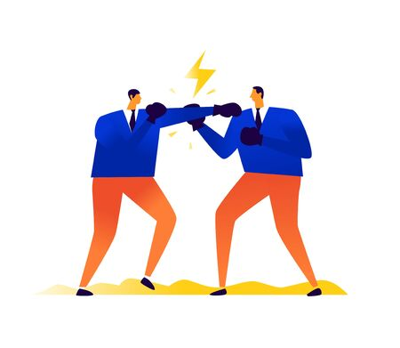 Illustration of businessmen boxing each other. Competition in business. Vector. Metaphor. Men hit each other. Conflict, quarrel and contention among people. Aggression between alpha males. Competition. Illustration