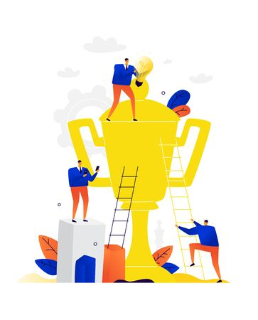 Illustration of businessmen cleaning a golden goblet. Vector. Metaphor. People are looking for victory and go to it. Employees dream of success in business. With the help of creativity and career growth, they achieve rewards. Vektoros illusztráció