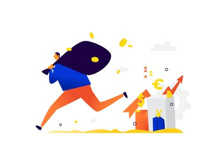 Illustration of a little man running away with investor income. The thief stole the capital. Vector. Metaphor. The rise and fall of foreign exchange assets. Stocks and bonds generate income. Flat illustration. Vectores