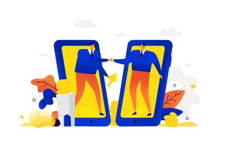 Illustration of businessmen being healthy. Vector. Metaphor. A man and his partner greet each other on the background of mobile devices. Partnership, trusting relationships in business. Flat illustration.