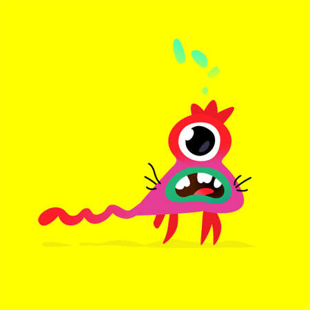Illustration of a cute, lovely big-eyed monster character. Vector. Mascot for the company. Abstract creature. Character is isolated on a yellow background. Children's cartoon image, drawing of a monster. Illustration