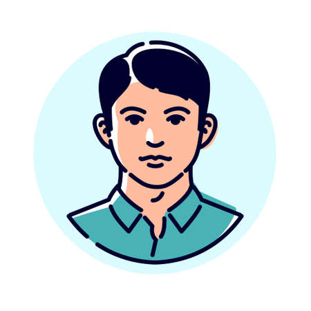 Illustration of a stylish young man. Vector. Avatar of a man for profile. Mascot for companies. The image of a client for a men's hairdresser. Very beautiful character. The image of an excellent student boy.