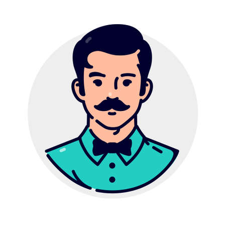 Illustration of a stylish hipster. Avatar of a man in a bow-tie and with a stylish mustache. Mascot for companies. The image of a client for a barber shop or men's hairdresser. Very cool character.