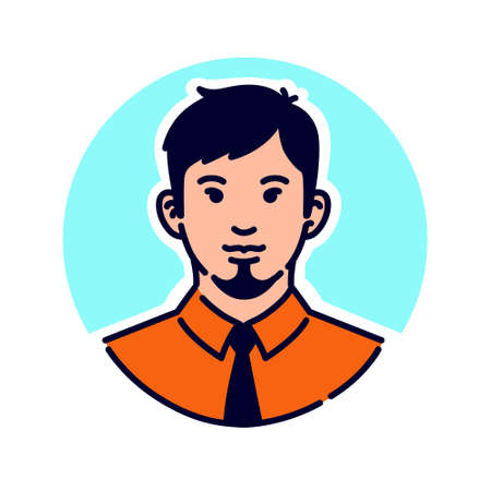 Illustration of a stylish hipster. Avatar of a man in a tie and with a stylish beard. Mascot for companies. The image of a client for a barber shop or men's hairdresser. Very cool character.