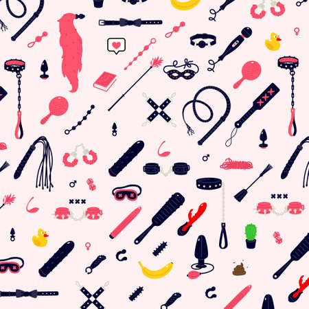 Illustrations and icons of sex toys. Vector. Gagging, lashes and gag handcuffs. Toys for adults. A pattern of pleasure instruments. Flat cartoon style. Products for an intimate store. Ilustracja