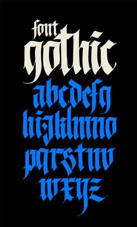Gothic alphabet. Vector. Modern gothic. Black calligraphic letters on a yellow background. All letters are separate. Medieval latin letters. Ancient Germanic style. Drawn with marker.