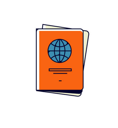 International passport icon. Vector. Personal document illustration. Allegory and metaphor of bureaucracy, document checking. Outline flat style. Illustration for website or print. Ilustracja