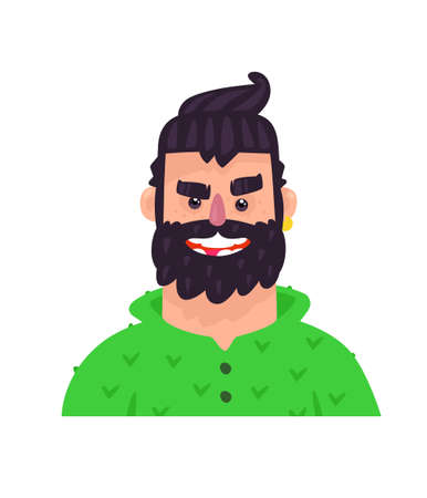 Illustration of a young man. Vector. Adult guy cartoon character for advertising and design. Bright positive hipster in a green sweater. Profile avatar.