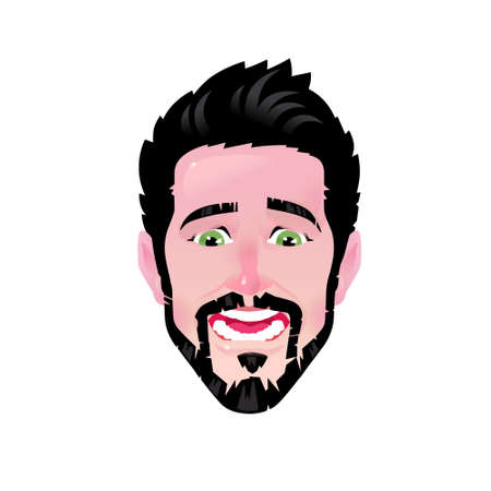 The emotion of a young man. Vector. Cartoon scared bearded man. Illustration of a head for advertising and chat. Surprised male avatar. The image is isolated on a white background. Ilustração