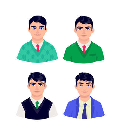 Illustration of young people. Vector. Cartoon businessman of mature age. Characters for advertising and design. Vivid images with big eyes. Profile avatar. Middle managers.