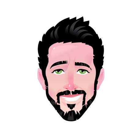 The emotion of a young man. Vector. Cartoon contented bearded man. Illustration of a head for advertising and chat. Confident man avatar. The image is isolated on a white background.