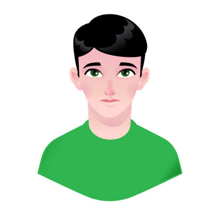 Boy illustration. Vector. Young child. Character for advertising and design. Bright image with big eyes. Profile avatar.
