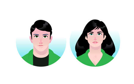 Illustration of a girl and a guy avatars. Vector. Couple of man and woman. Two portraits of businessmen for advertising and design. Vivid images of anime style. Avatracks for website and print. Toilet stickers. 向量圖像
