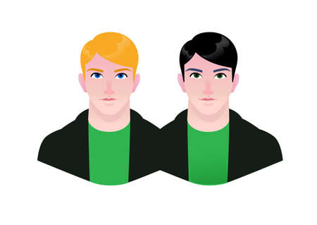 Illustration of young people. Vector. Cartoon couple of hipster men. Characters for advertising and design. Bright calm images. . Blond and brunette. Twin brothers.