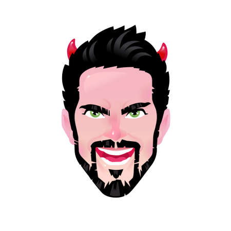 The emotion of a young man. Vector. Cartoon bearded man in the image of a demon or devil. Illustration for advertising and chat. A vivid image. Avatar of an evil character. The image is isolated on a white background.  イラスト・ベクター素材