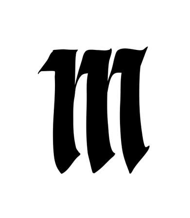 Letter M, in the Gothic style. Vector. Alphabet. The symbol is isolated on a white background. Calligraphy and lettering. Medieval Latin letter.