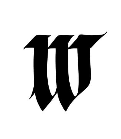 Letter W, in the Gothic style. Vector. Alphabet. The symbol is isolated on a white background. Calligraphy and lettering. Medieval Latin letter.