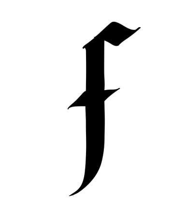Letter F, in the Gothic style. Vector. Alphabet. The symbol is isolated on a white background. Calligraphy and lettering. Medieval Latin letter.