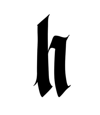 Letter H, in the Gothic style. Vector. Alphabet. The symbol is isolated on a white background. Calligraphy and lettering. Medieval Latin letter.