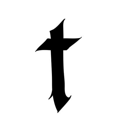 Letter T, in the Gothic style. Vector. Alphabet. The symbol is isolated on a white background. Calligraphy and lettering. Medieval Latin letter.