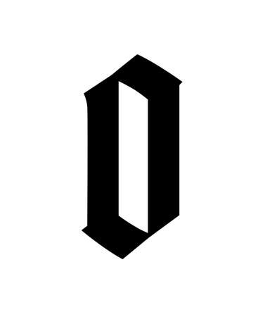 Letter o, in the Gothic style. Vector. Alphabet. The symbol is isolated on a white background. Calligraphy and lettering. Medieval Latin letter.